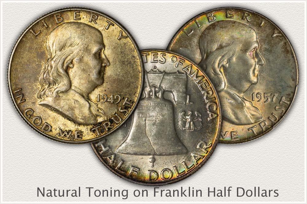 Natural Toned Franklin Half Dollars