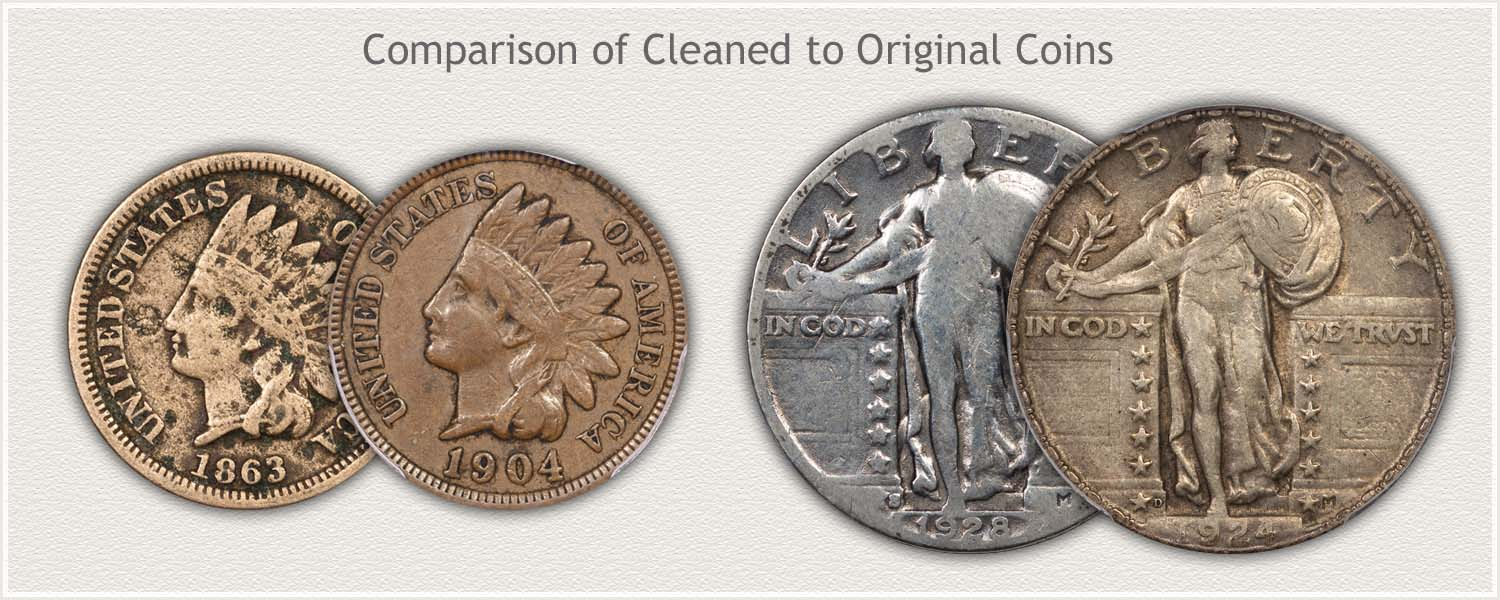 Original Surface and Cleaned Coins