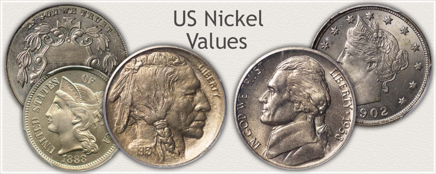 Nickels Representing Series: Shield, Liberty, Buffalo, and Jefferson Nickels