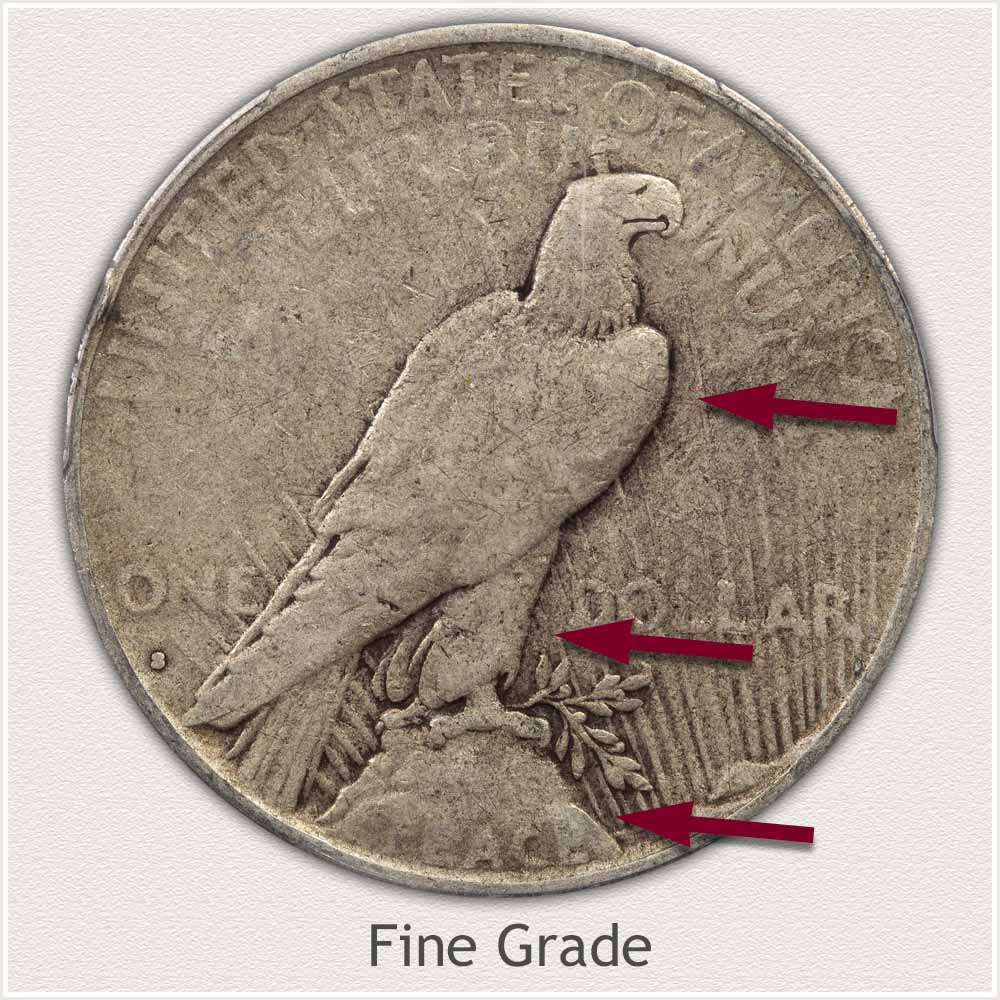 Reverse View: Fine Grade Peace Dollar