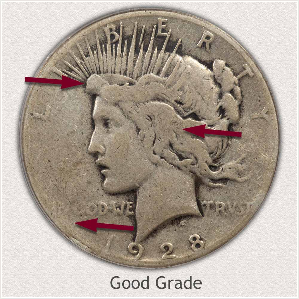 Obverse View: Good Grade Peace Dollar