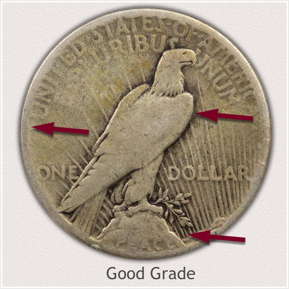 Reverse View: Good Grade Peace Dollar