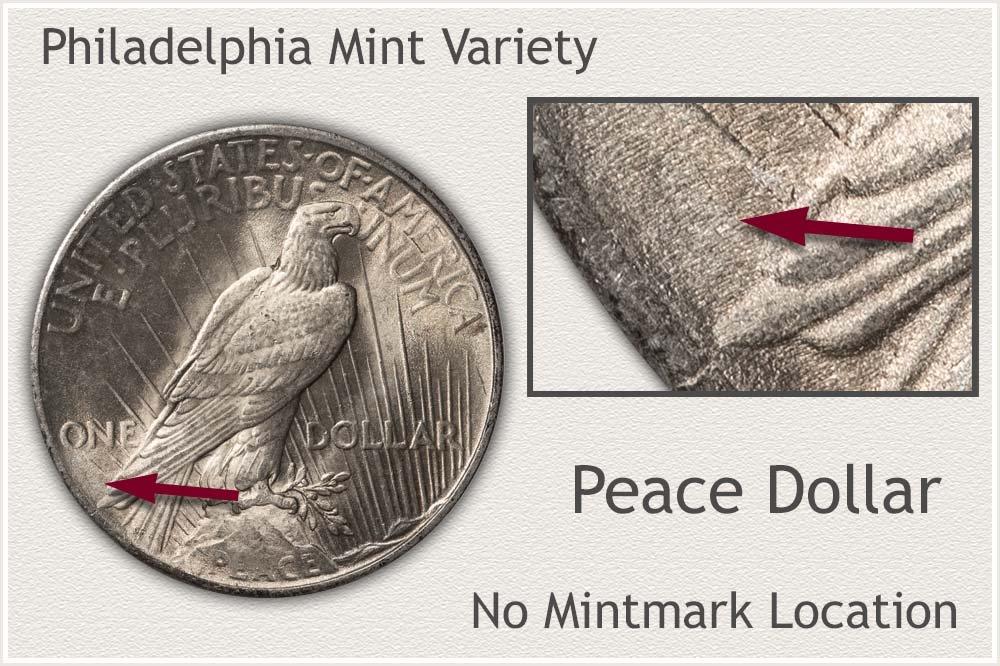 Philadelphia Mint Variety Peace Silver Dollar