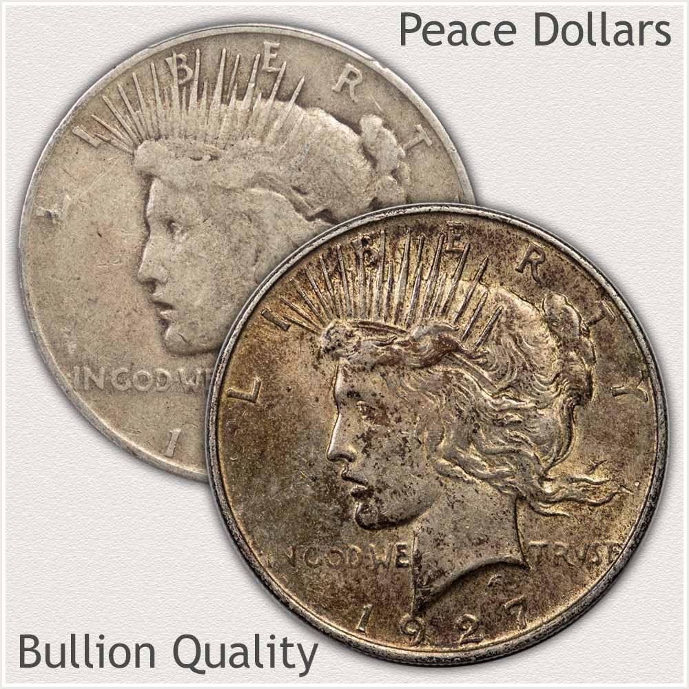 Bullion Quality Peace Silver Dollars