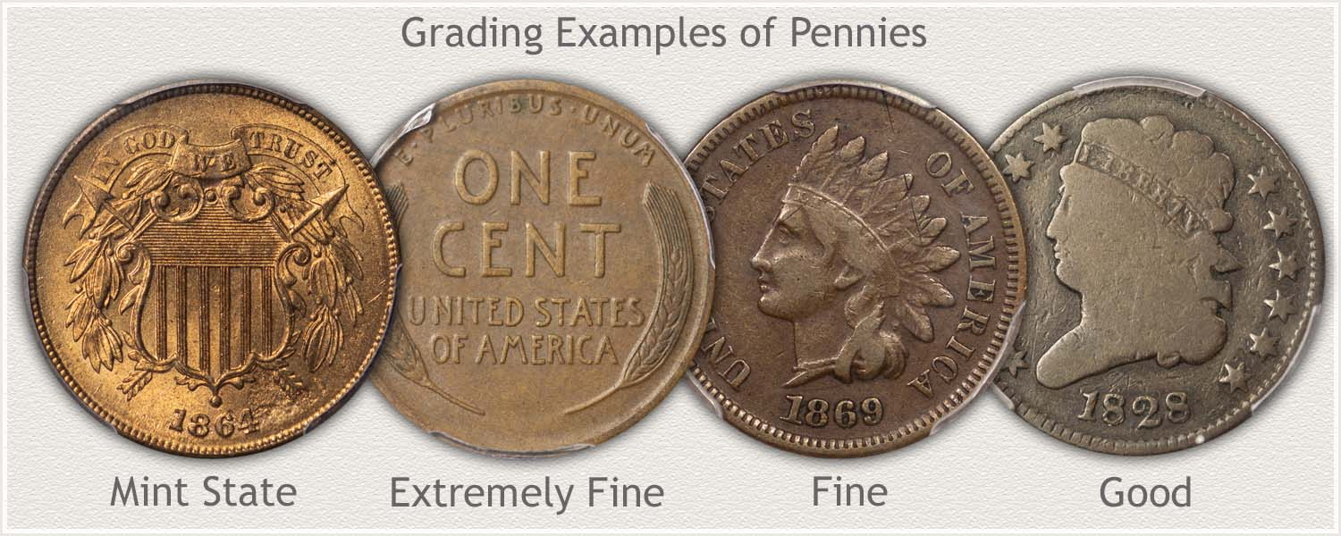 Pennies in Different Grades: Mint State, Extremely Fine, Fine, and Good Condition