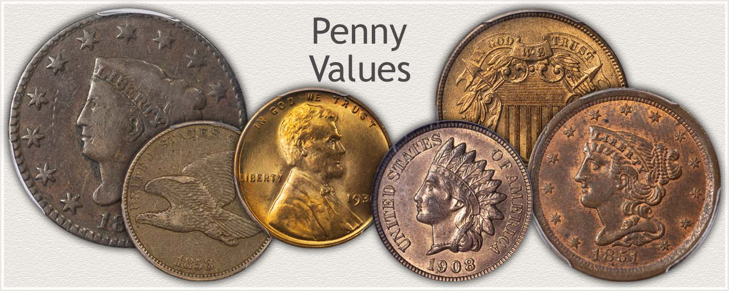 Introduction to Penny Values | Half Cent, Large Cent, Indian and Lincoln Cents and Two Cent Pieces