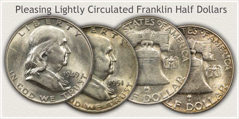 Franklin Half Dollars in About Uncirculated Condition
