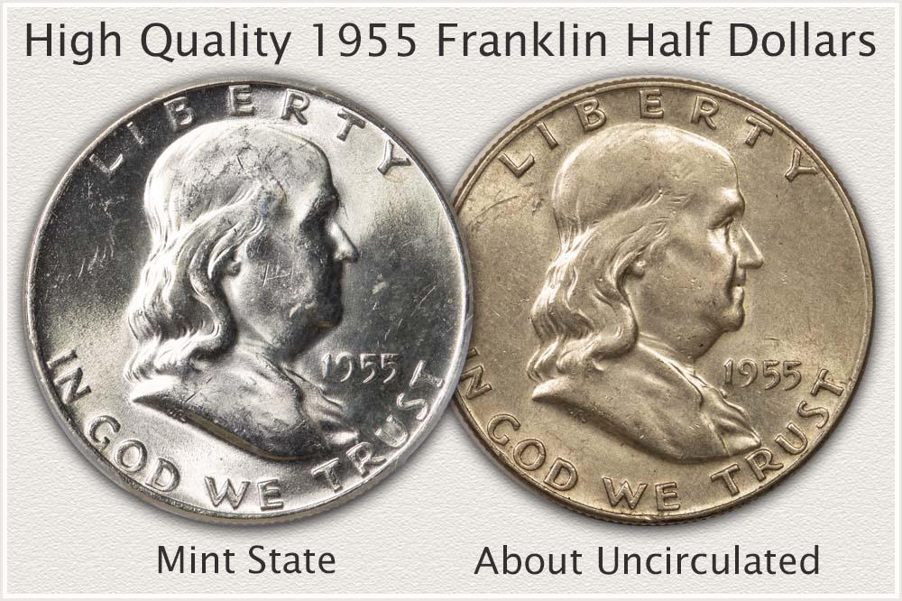Two High Quality 1955 Franklin Half Dollars
