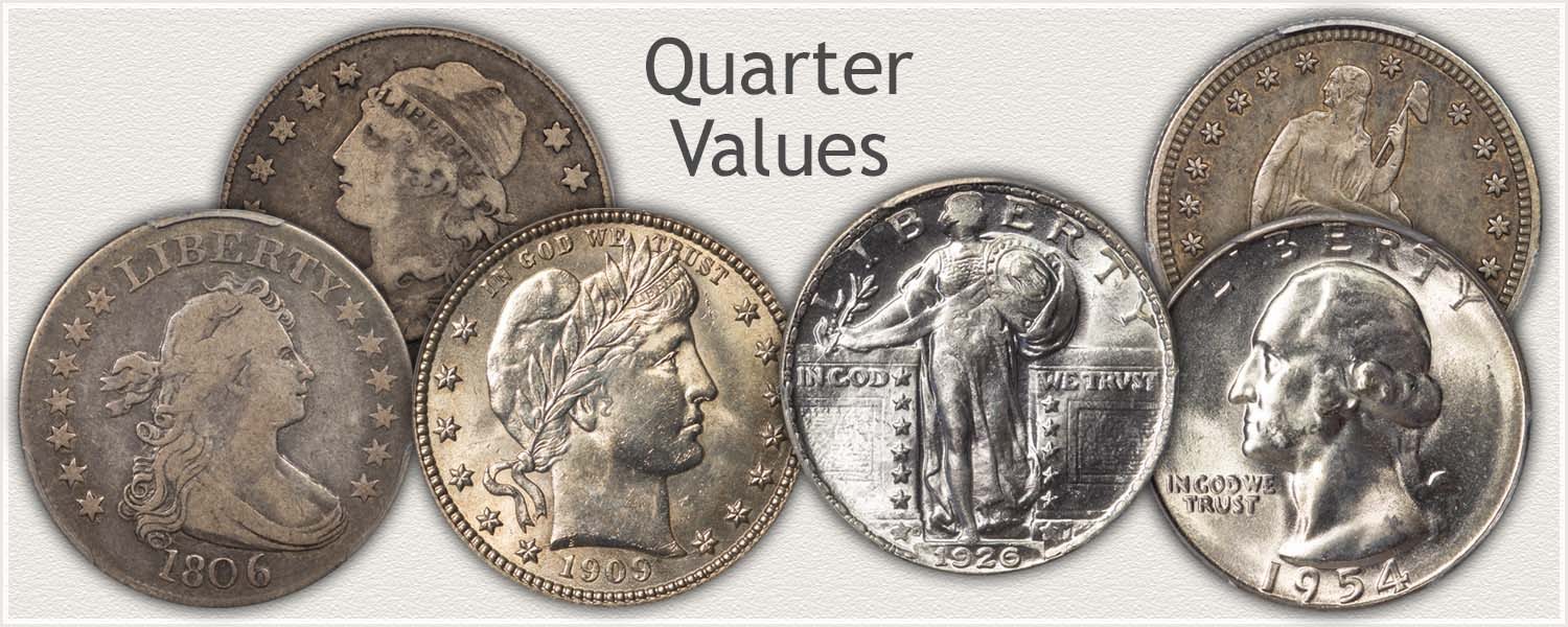Examples of Quarter Series: Bust, Seated Liberty, Barber, Standing Liberty, and Washington Quarters