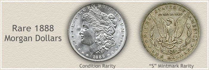 Rare 1888 Morgan Silver Dollars