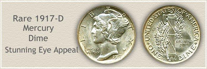 Rare 1917 D Mercury Dime