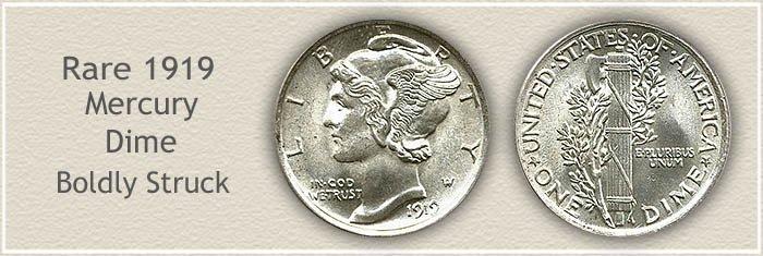 Rare 1919 Mercury Dime