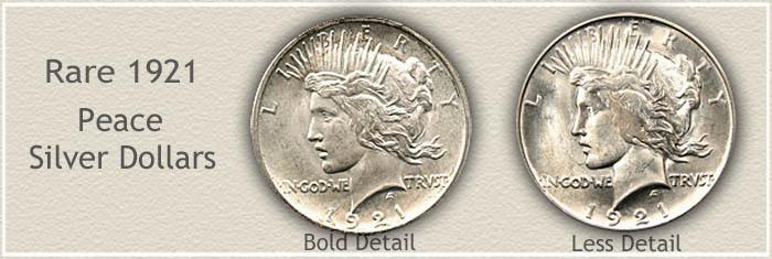 Rare 1921 Peace Silver Dollars