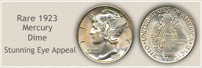 Rare 1923 Mercury Dime