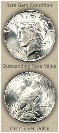 Rare 1927 Peace Silver Dollar