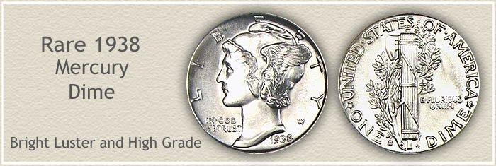 Rare 1938 Mercury Dime