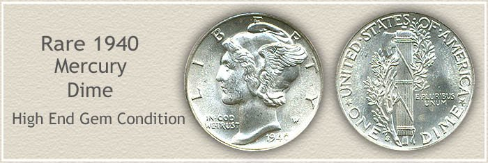 Rare 1940 Mercury Dime