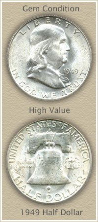 Rare 1949 Franklin Half Dollar