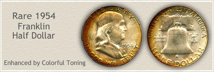 Rare 1954 Franklin Half Dollar