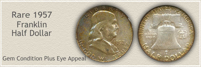 Rare 1957 Franklin Half Dollar