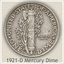 Rare 1921-D Mercury Dime