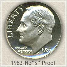 Rare 1983 Proof No S Roosevelt Dime