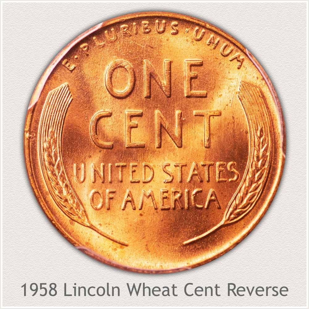 1958 Lincoln Wheat Cent Reverse Design