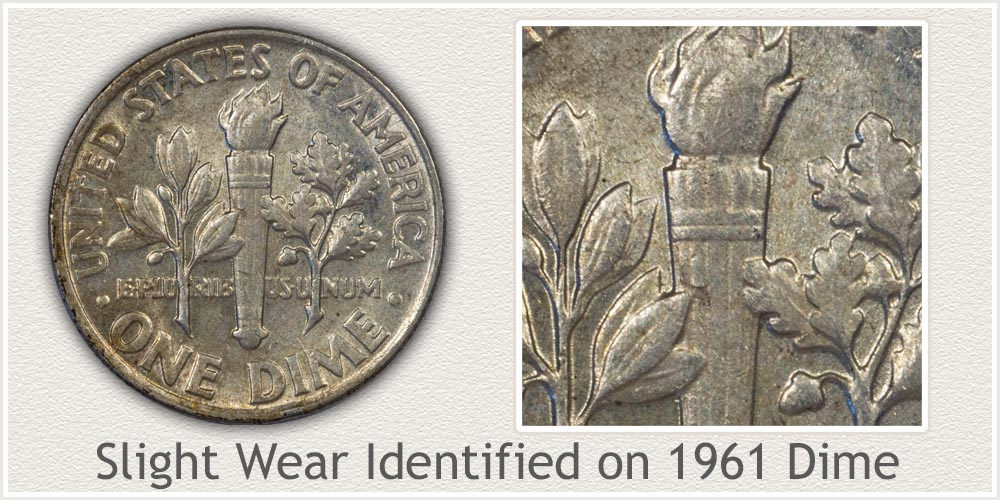 1961 Roosevelt Dime With Slight Wear