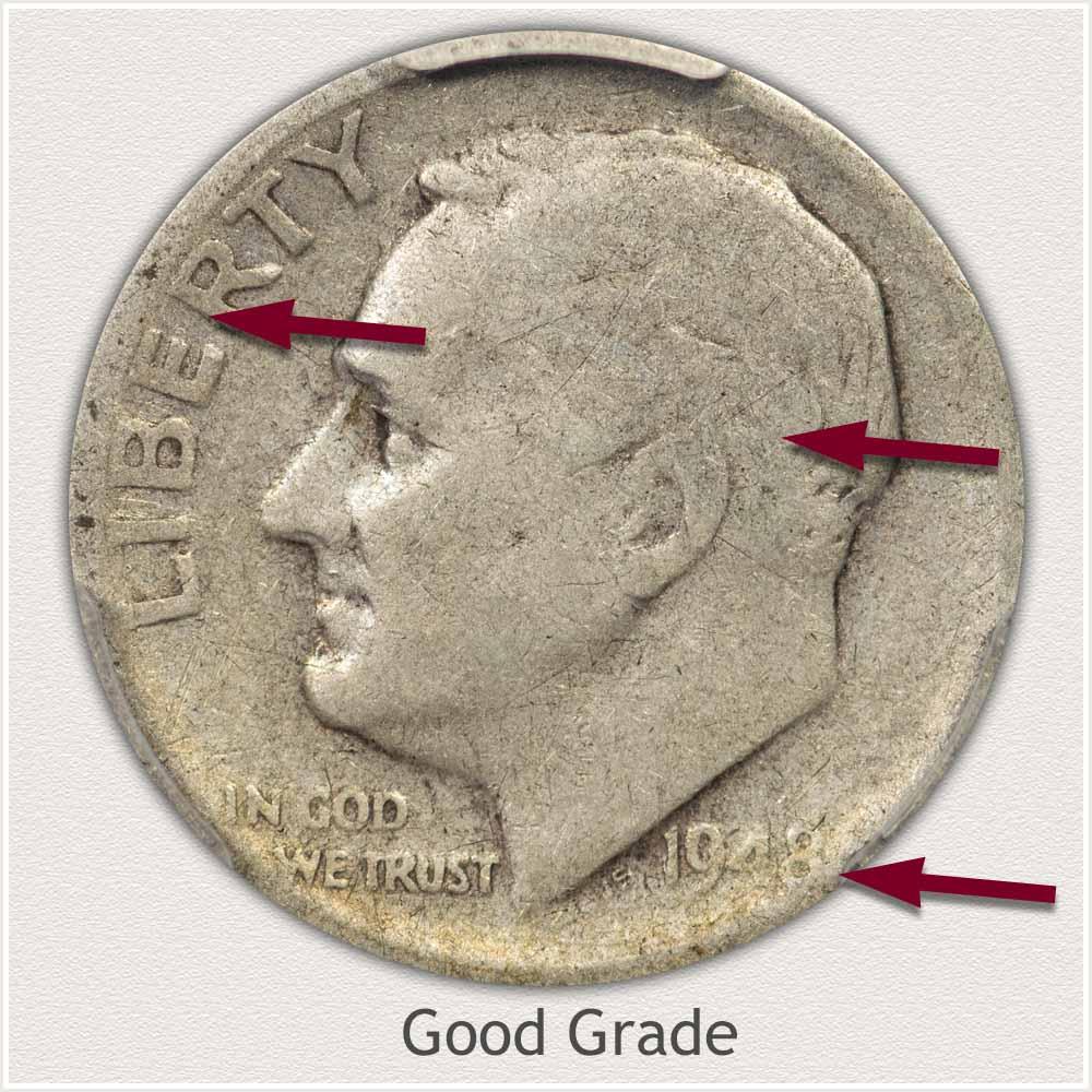 Obverse View: Good Grade Roosevelt Dime