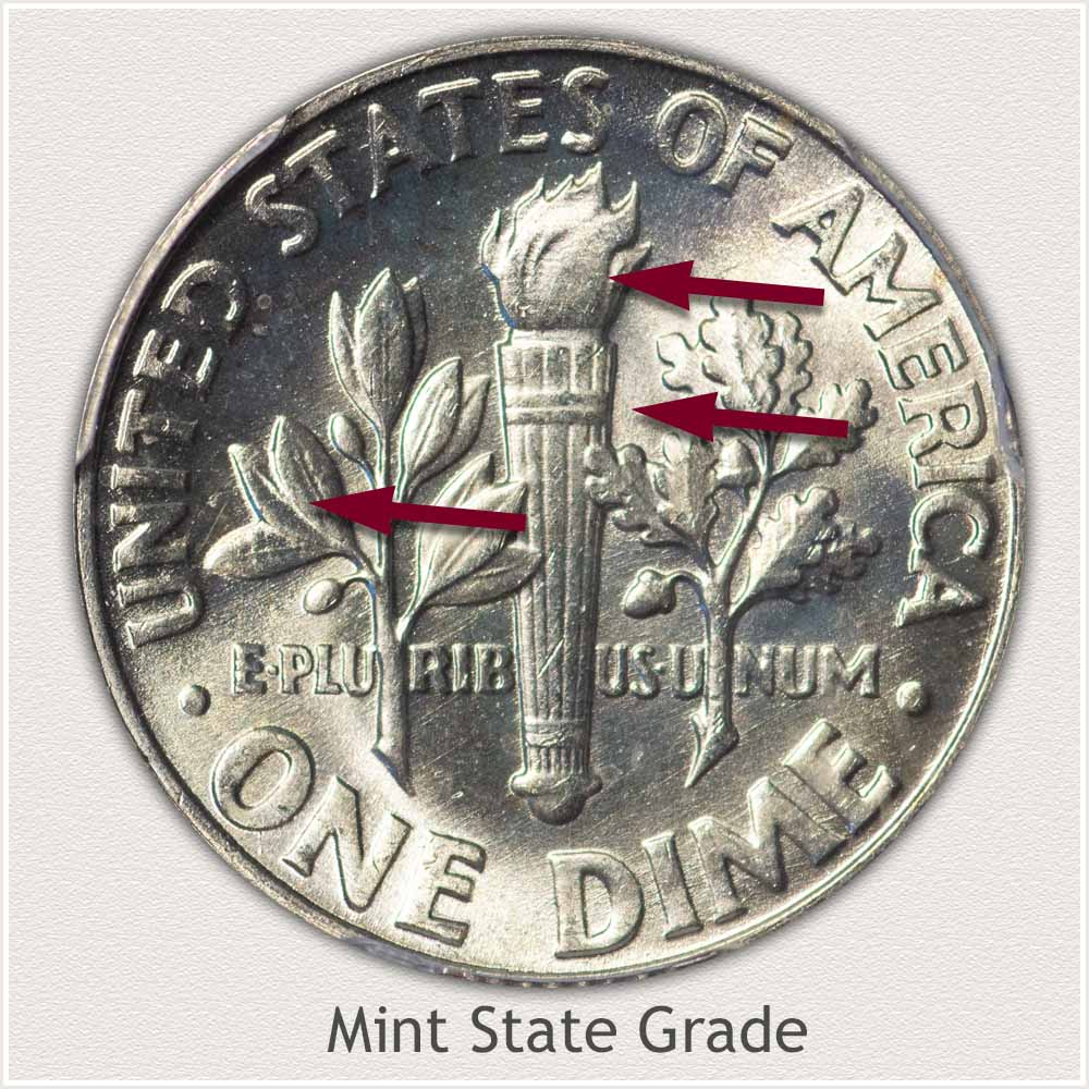 Reverse View: Mint State Grade Roosevelt Dime
