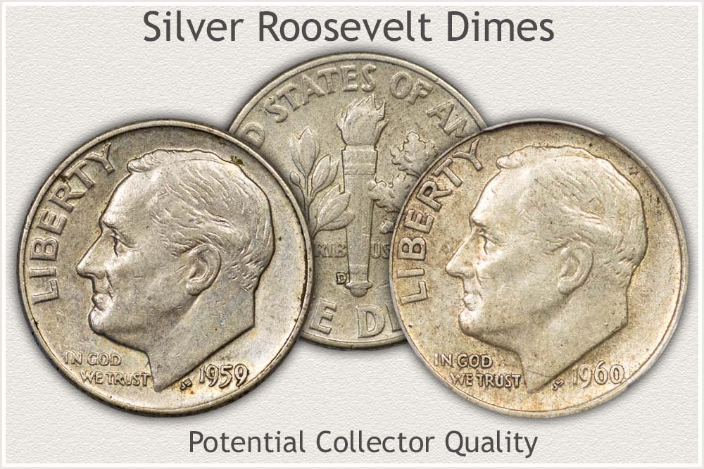 High Condition Circulated Silver Roosevelt Dimes