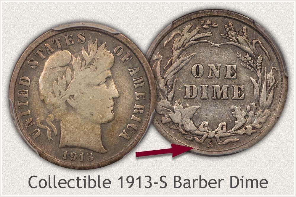 1913-S Barber Dime