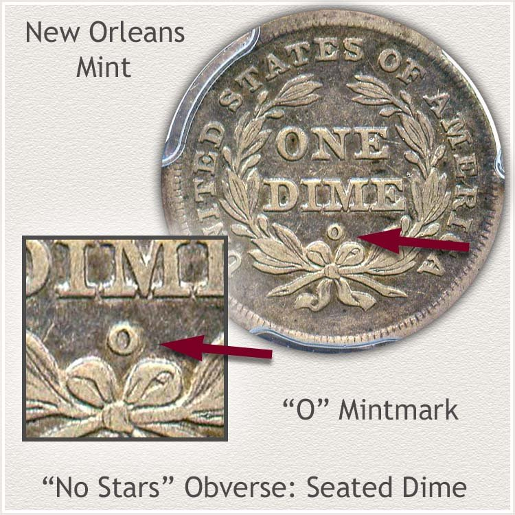 Mintmark Location of New Orleans No Star Variety Seated Dime