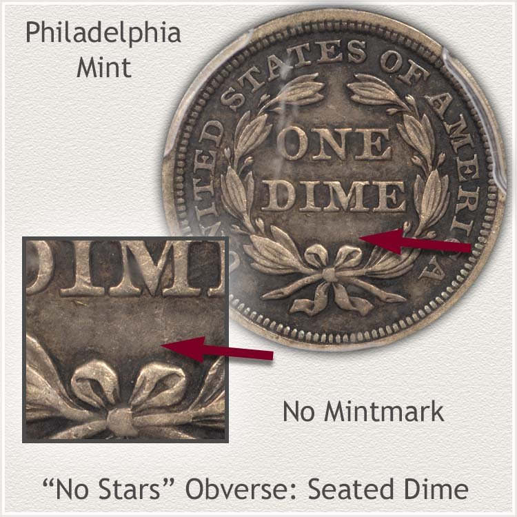 Philadelphia Mint No Stars Obverse Seated Dime
