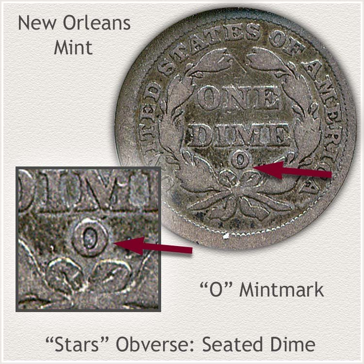 New Orleans Mintmark Location Stars Obverse Seated Dime