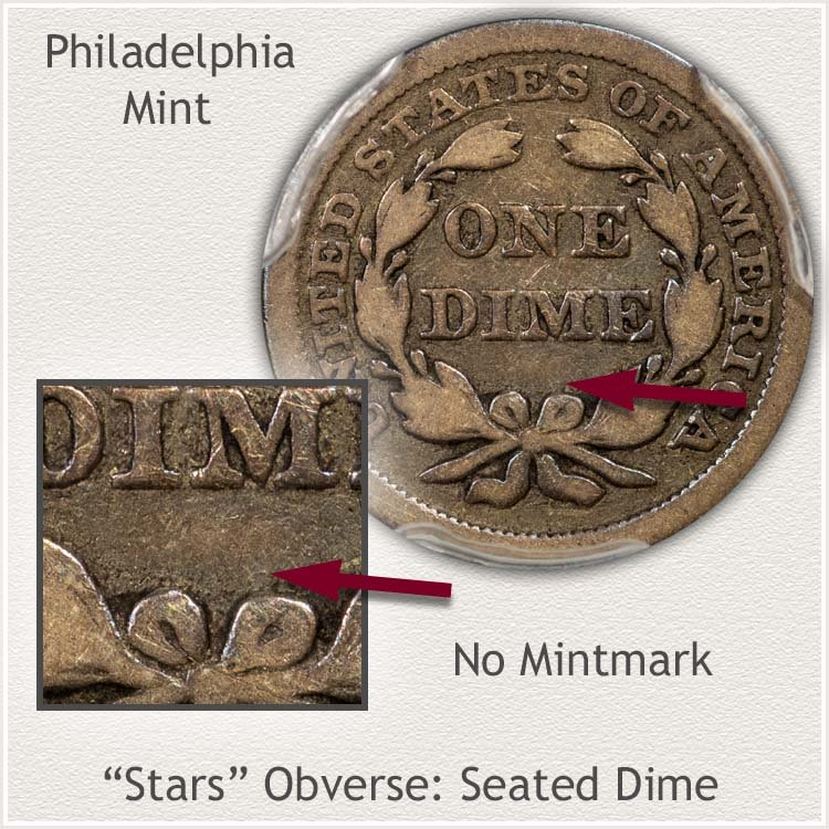Philadelphia Mint Stars Obverse Seated Dime
