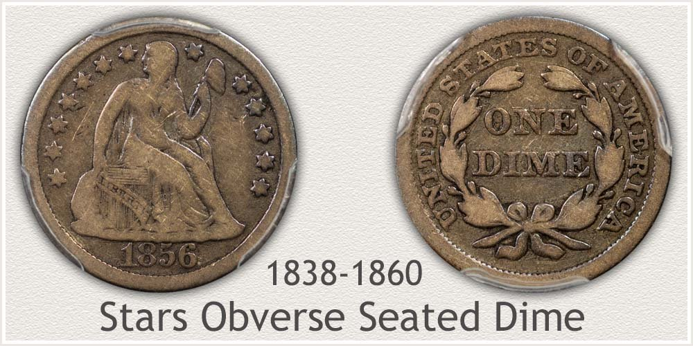 Obverse and Reverse of the Stars Obverse Seated Dime Variety