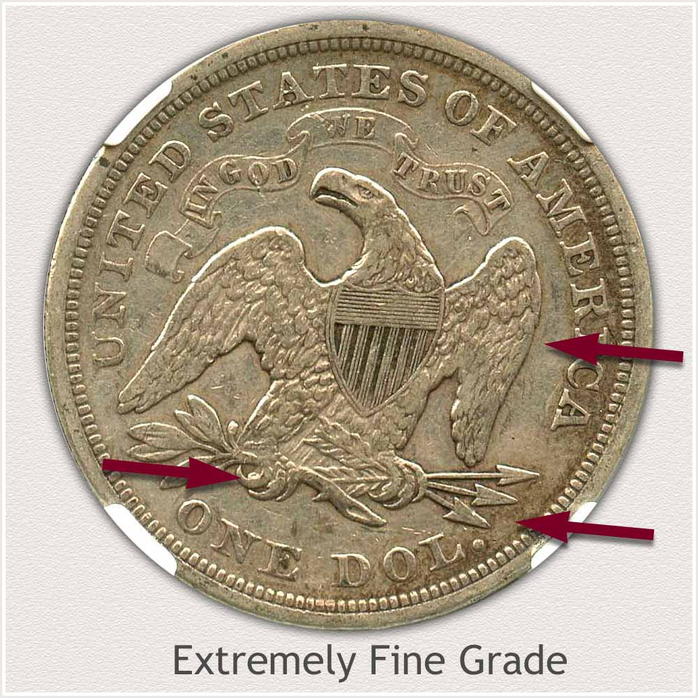 Reverse View: Extremely Fine Grade Seated Liberty Dollar
