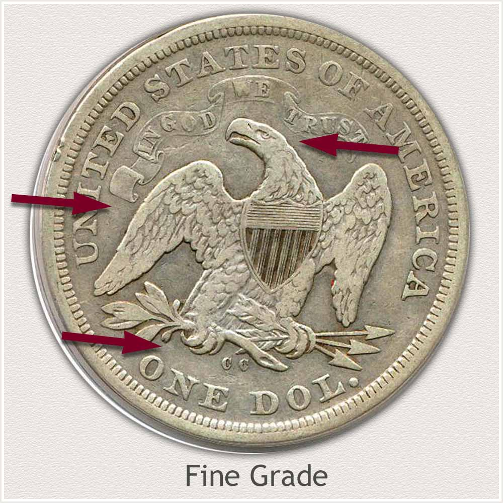 Reverse View: Fine Grade Seated Liberty Dollar