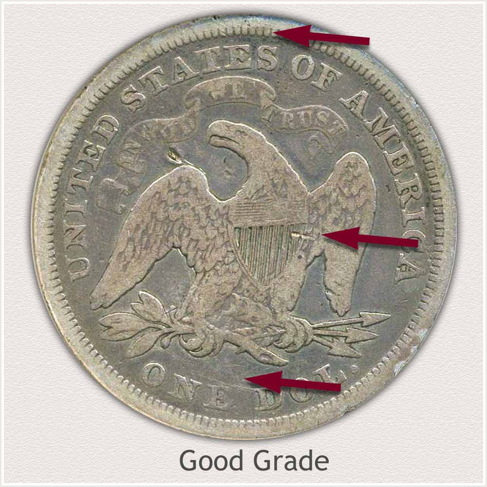 Reverse View: Good Grade Seated Liberty Dollar
