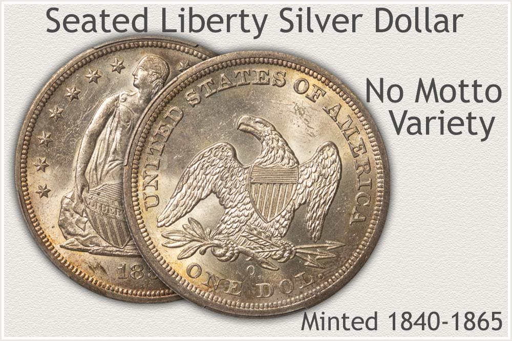 No Motto Variety Seated Liberty Silver Dollar