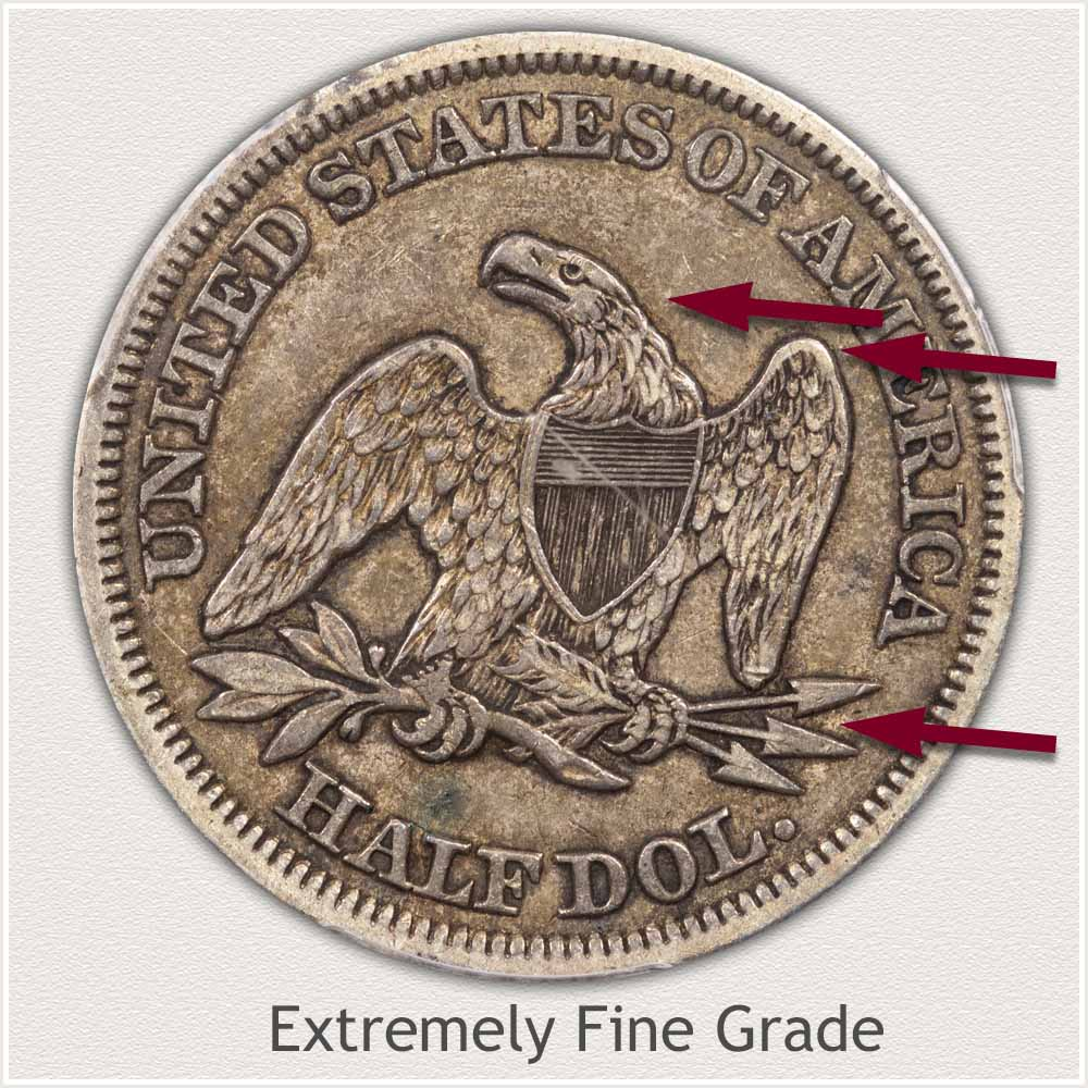Reverse View: Extremely Fine Grade Seated Liberty Half Dollar