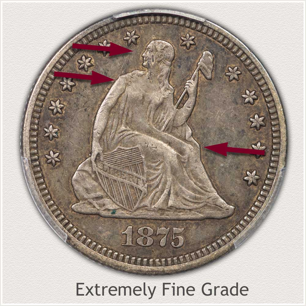 Obverse View: Extremely Fine Grade Seated Liberty Quarter