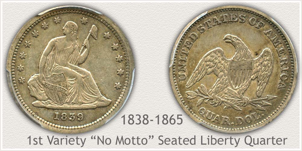 Seated Liberty Quarter First Variety 1838 to 1865