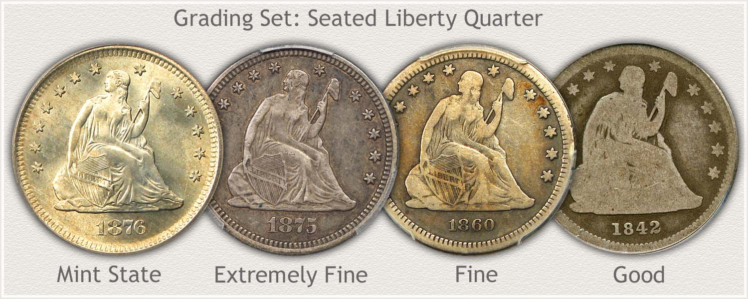Grading Set of Seated Liberty Quarters