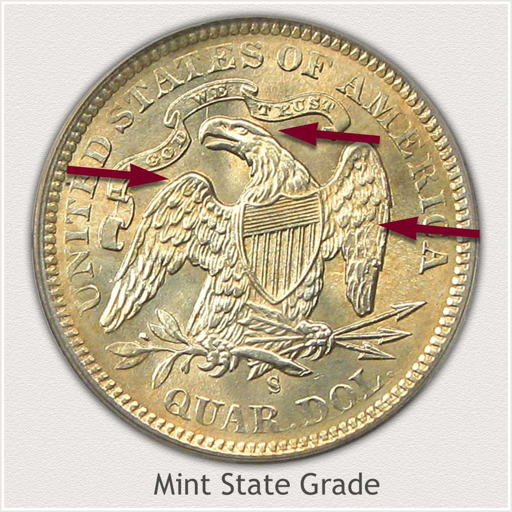 Reverse View: Mint State Grade Seated Liberty Quarter
