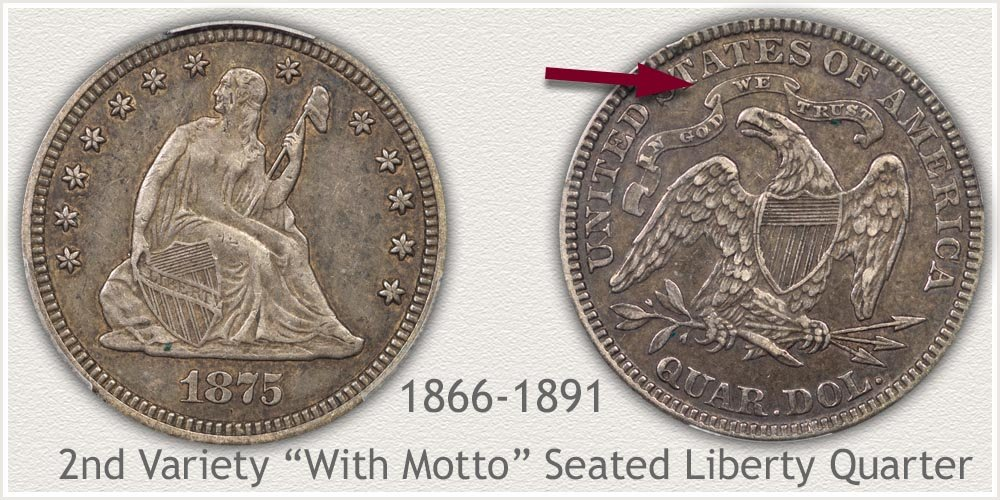 Seated Liberty Quarter Second Variety 1866 to 1891