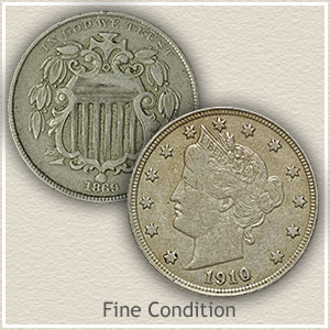 Shield and Liberty Nickel in Fine Condition