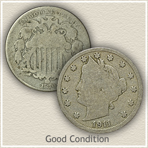 Shield and Liberty Nickel in Good Condition