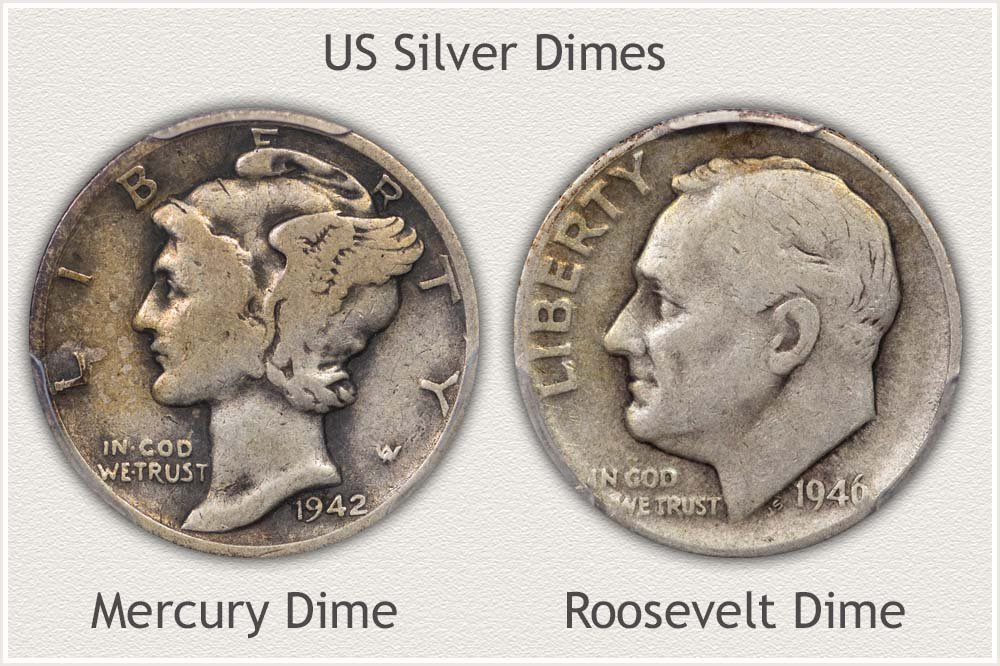 Mercury and Roosevelt Dimes Bullion Silver Examples